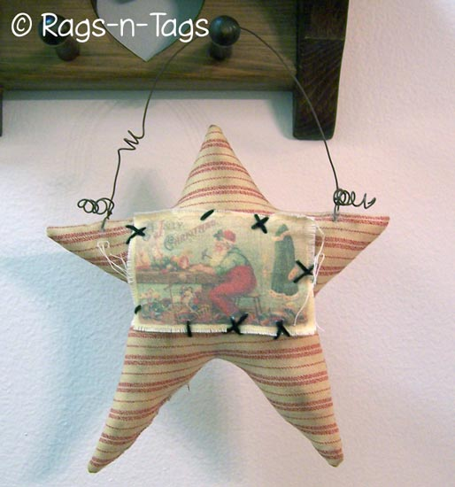 The Ragged Fence : Primitive Star and Crow Pattern - $8.00